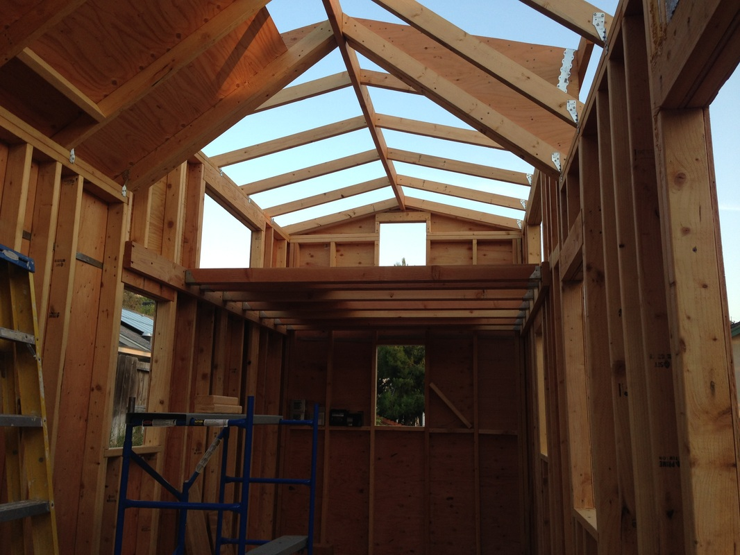 roof framing with 2x4 rafters 2x6 ridge board and 12 sheathing - Tiny House Framing 2